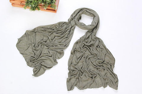 Yangtze Store Long Cotton and Viscose Scarf Plain Grayish Green Color COT105