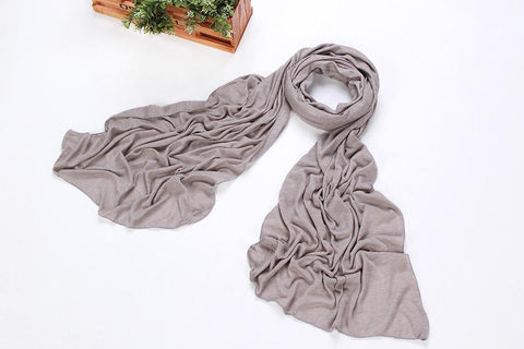 Yangtze Store Long Cotton and Viscose Scarf Plain Silver Color COT104