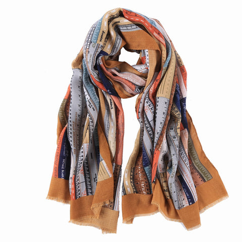 Yangtze Store Long Cotton Scarf Beige Theme Rulers Print COT901