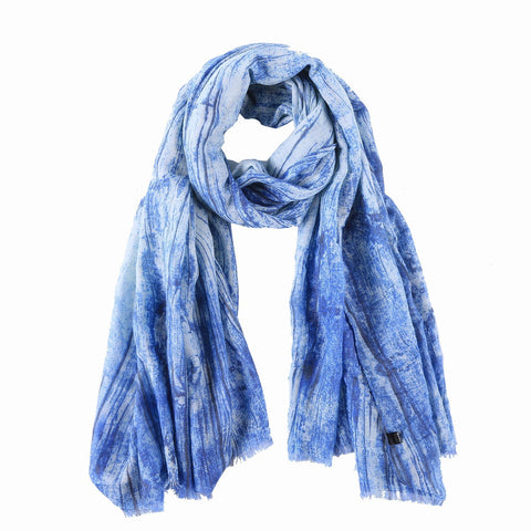 Yangtze Store Long Cotton Scarf Blue Theme Abstract Print COT805