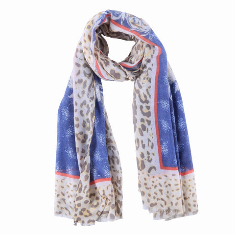 Yangtze Store Long Cotton Scarf Blue Theme Leopard Print COT811