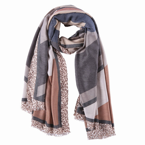 Yangtze Store Long Cotton Scarf Brown and Gray Abstract Print COT909