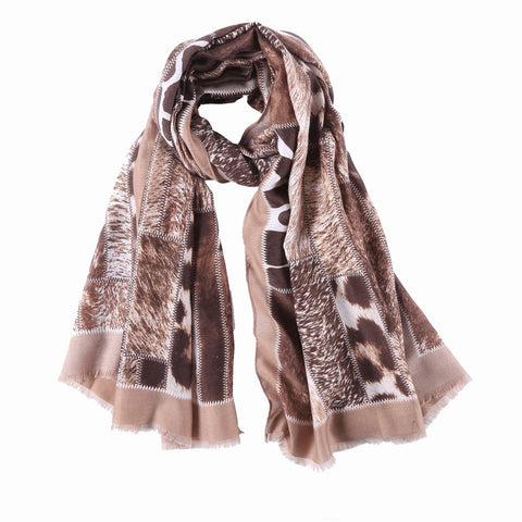 Yangtze Store Long Cotton Scarf Brown Theme Leopard Print COT903