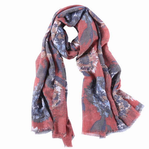 Yangtze Store Long Cotton Scarf Gray and Red  Floral Print COT802