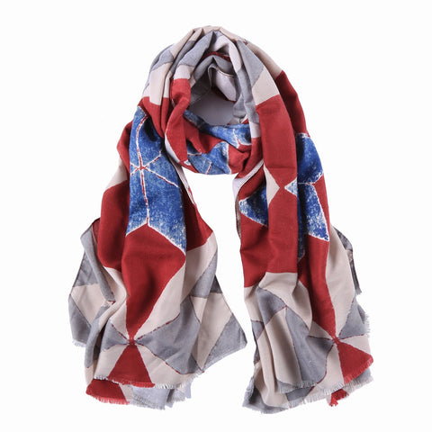 Yangtze Store Long Cotton Scarf Gray Red and Blue Abstract Print COT906
