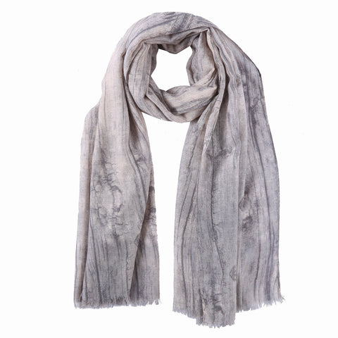 Yangtze Store Long Cotton Scarf Gray Theme Abstract Print COT806