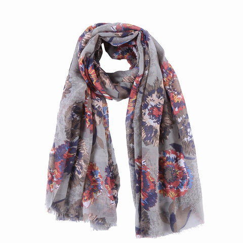 Yangtze Store Long Cotton Scarf Gray Theme Floral Print COT801