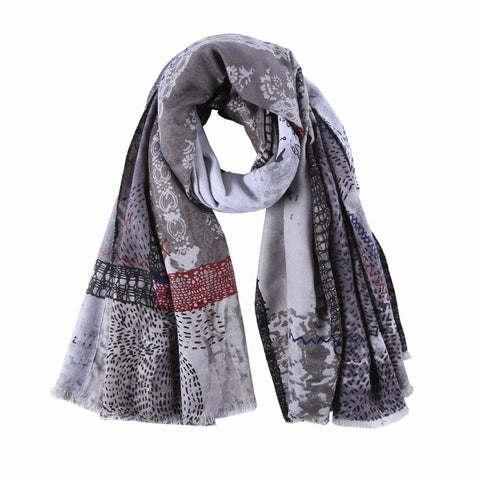Yangtze Store Long Cotton Scarf Gray Theme Floral Print COT911
