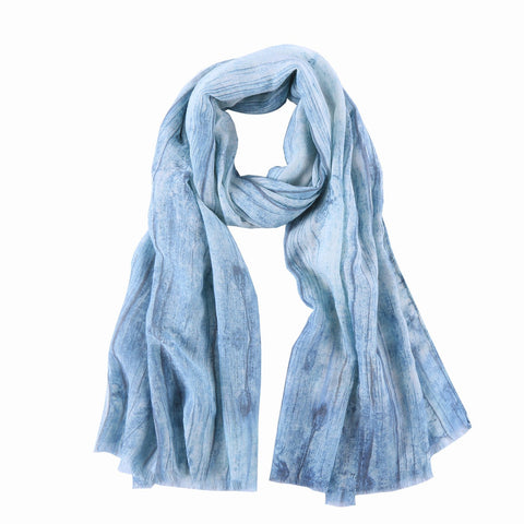 Yangtze Store Long Cotton Scarf Light Blue Abstract Print COT804