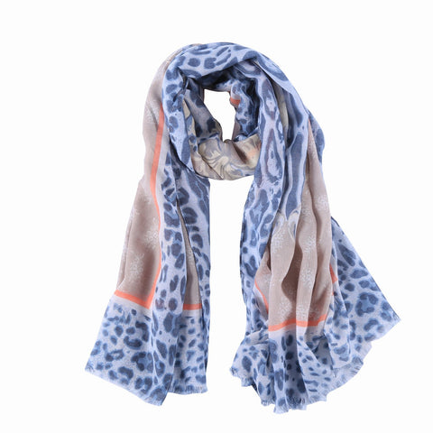 Yangtze Store Long Cotton Scarf Navy Theme Leopard Print COT812