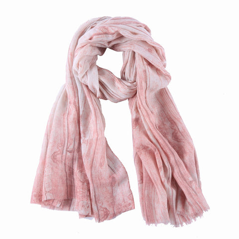 Yangtze Store Long Cotton Scarf Pink Theme Abstract Print COT807