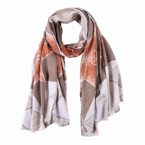 Yangtze Store Long Cotton Scarf Silver Brown and Bronze Abstract Print COT905