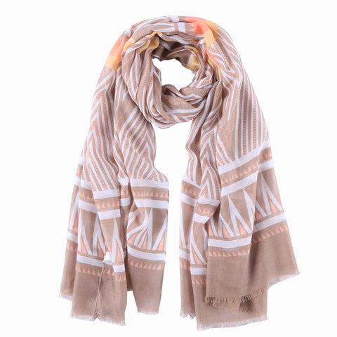 Yangtze Store Long Cotton Scarf Taupe Theme Striped Print COT809