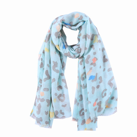 Yangtze Store Long Cotton Scarf Turquoise Theme Abstract Print COT808