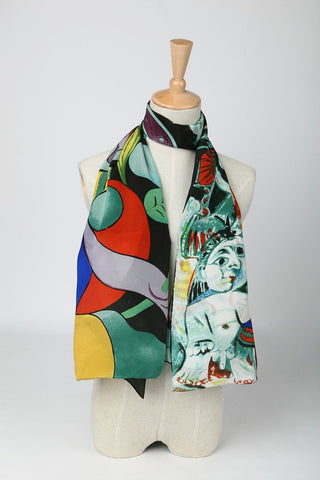 Yangtze Store Long Crepe Silk Scarf Black and Green Classic Painting Print LSZ005