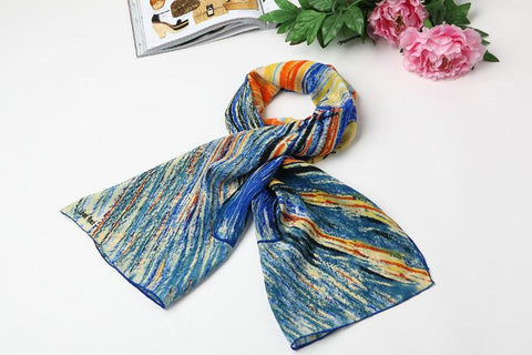 Yangtze Store Long Crepe Silk Scarf Blue and Orange Classic Painting Print LSZ008