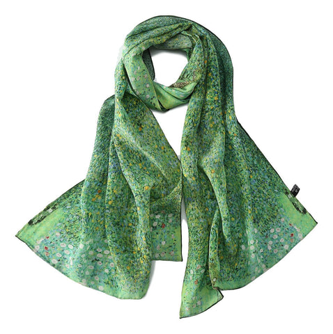 Yangtze Store Long Crepe Silk Scarf Green Theme Classic Painting LSZ024