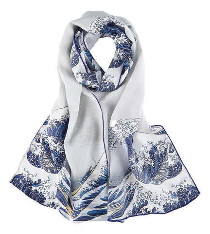 Yangtze Store Long Crepe Silk Scarf Japanese Classic Painting Great Wave off Kanagawa LSZ034
