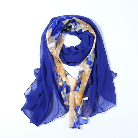 Yangtze Store Long Polyester Burned-Out Satin Scarf Blue Theme Floral Print LHL005