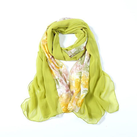 Yangtze Store Long Polyester Burned-Out Satin Scarf Green Theme Floral Print LHL002