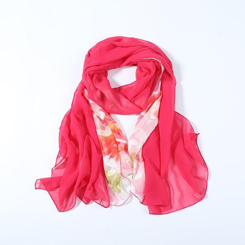 Yangtze Store Long Polyester Burned-Out Satin Scarf Pink Theme Floral Print LHL001