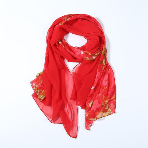 Yangtze Store Long Polyester Burned-Out Satin Scarf Red Theme Floral Print LHL004