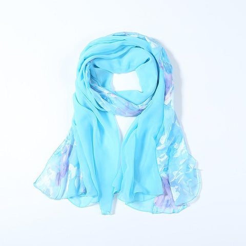 Yangtze Store Long Polyester Burned-Out Satin Scarf Turquoise Theme Floral Print LHL006