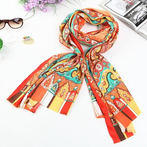 Yangtze Store Long Polyester Twill Scarf Orange Theme Paisley Print LAT001
