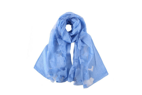 Yangtze Store Long Scarf With Embroidered Floral Pattern Blue Color JAC005