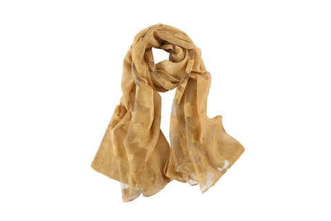 Yangtze Store Long Scarf With Embroidered Floral Pattern Gold Color JAC008