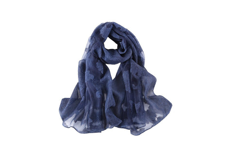 Yangtze Store Long Scarf With Embroidered Floral Pattern Navy Color JAC002
