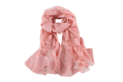 Yangtze Store Long Scarf With Embroidered Floral Pattern Pink Color JAC001