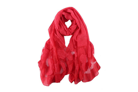 Yangtze Store Long Scarf With Embroidered Floral Pattern Red Color JAC006