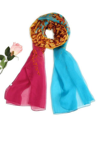 Yangtze Store Long Silk Chiffon Scarf Blue and Fuschia Theme Leopard Print SCH050