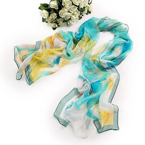 Yangtze Store Long Silk Chiffon Scarf Blue and Yellow Theme SCH047