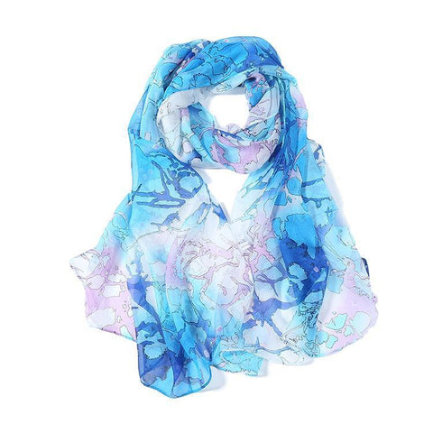 Yangtze Store Long Silk Chiffon Scarf Blue Theme Abstract Print SCH068