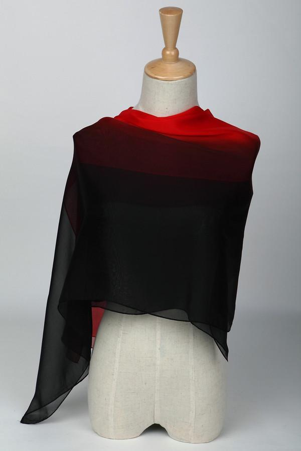 Long Silk Chiffon Scarf Gradient Color Black and Red SCH011