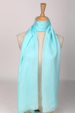 Yangtze Store Long Silk Chiffon Scarf Gradient Color Light Blue SCH014