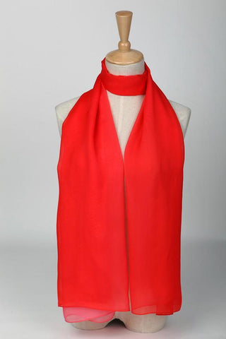 Yangtze Store Long Silk Chiffon Scarf Gradient Color Red SCH009