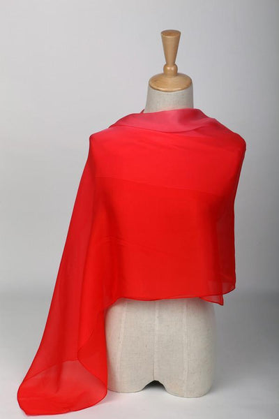 Long Silk Chiffon Scarf Gradient Color Red Sch009