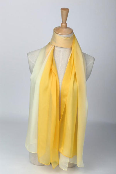 Long Silk Chiffon Scarf Gradient Gold Color Sch013