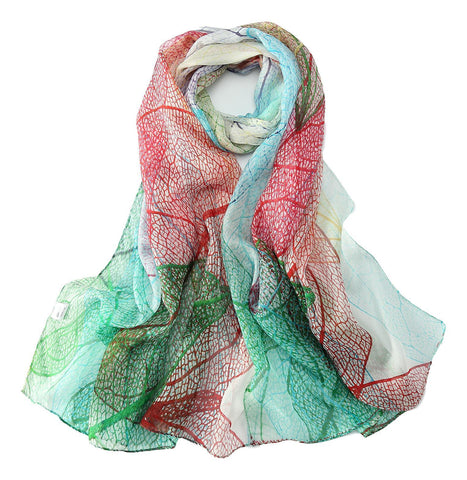 Yangtze Store Long Silk Chiffon Scarf Green and Red Floral Print SCH305