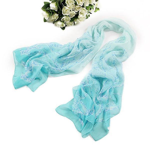 Yangtze Store Long Silk Chiffon Scarf Light Blue Theme SCH042