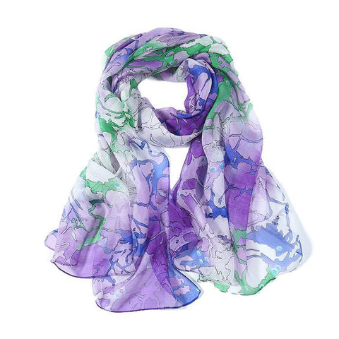 Yangtze Store Long Silk Chiffon Scarf Purple Theme Abstract Print SCH069