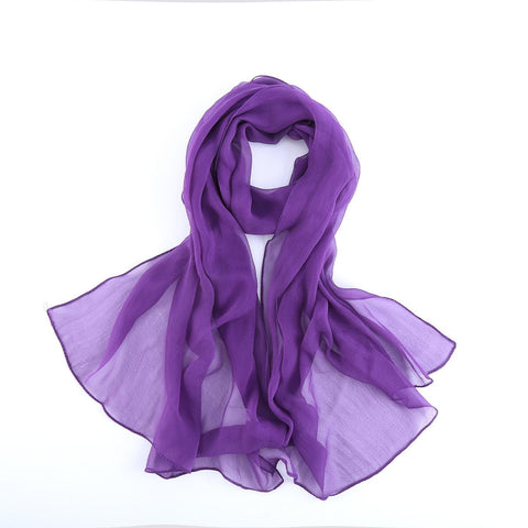 Yangtze Store Long Silk Chiffon Scarf Solid Purple Color SQL011