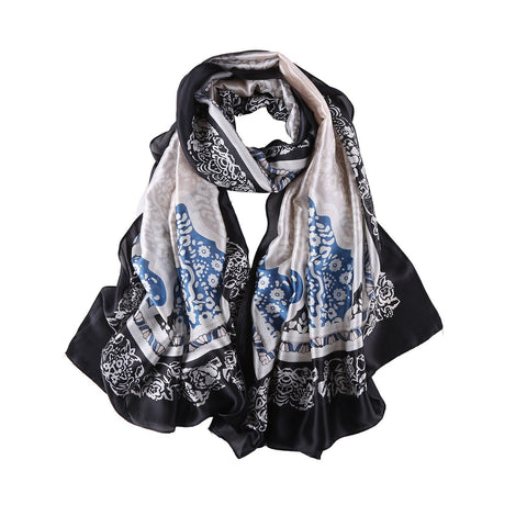 Yangtze Store Long Silk Feel Satin Scarf Black Theme Abstract Print LAT124