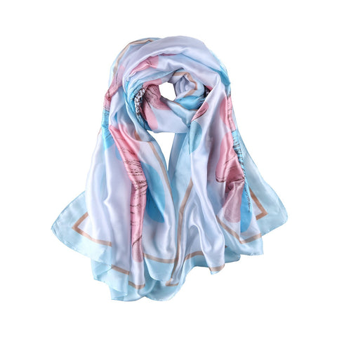 Yangtze Store Long Silk Feel Satin Scarf Blue and Pink Flower Print LAT122