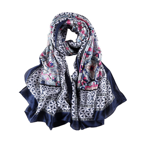 Yangtze Store Long Silk Feel Satin Scarf Navy Theme Abstract Print LAT126