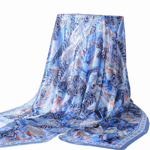 Yangtze Store Long Silk Feel Satin Scarf Pink and Blue Theme Feathers Print LAT110