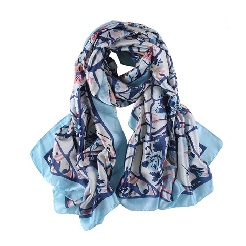 Yangtze Store Long Silk Feel Satin Scarf Pink and Blue Theme Floral Print LAT109
